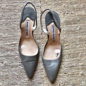 Manolo Blahnik Heather Gray Kitten Heels